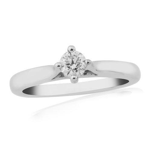 Solitaire Single Stone Four Claw Engagement Ring White Gold 25 Points